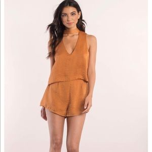 Copper V Choker Neck Satin Feel Romper